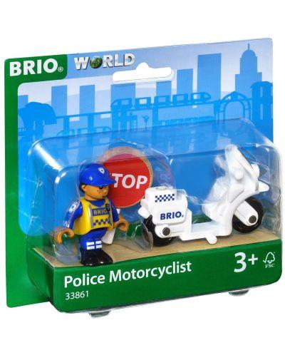Играчка от дърво Brio World - Полицай с мотор - 2