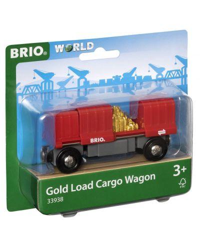 Играчка Brio World - Товарен вагон, със злато - 1