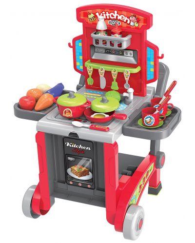 Детска кухня Buba Kitchen little Chef - Червена, 3 в 1 - 1