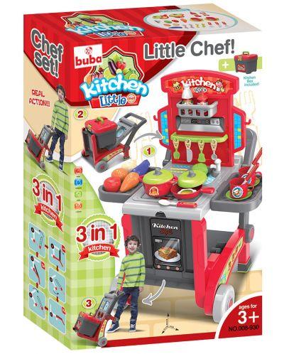 Детска кухня Buba Kitchen little Chef - Червена, 3 в 1 - 3
