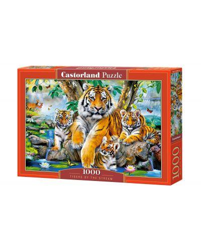 Пъзел Castorland от 1000 части - Тигри до водопада - 1