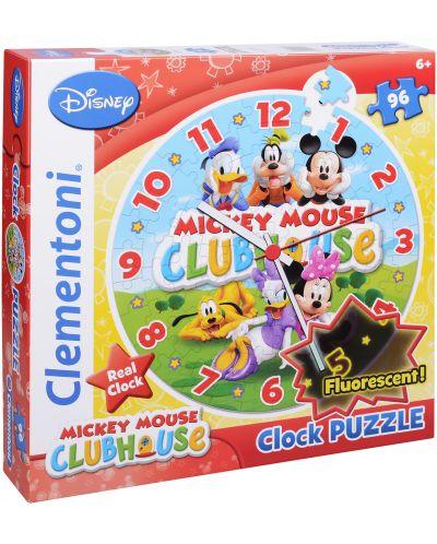 Кръгъл пъзел Clementoni от 96 части - Часовникът на Мики, светещ - 1