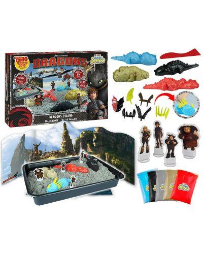 Игрален комплект с кинетичен пясък Craze Magic Sand Dragons Island - Арена с дракони и фигурки - 3