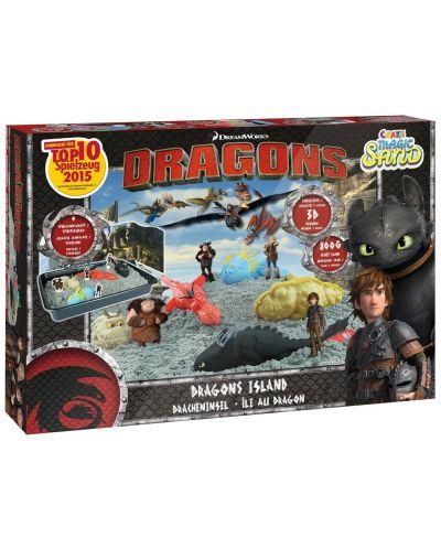 Игрален комплект с кинетичен пясък Craze Magic Sand Dragons Island - Арена с дракони и фигурки - 1