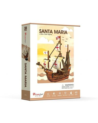 3D Пъзел Cubic Fun от 93 части - Santa Maria - 2