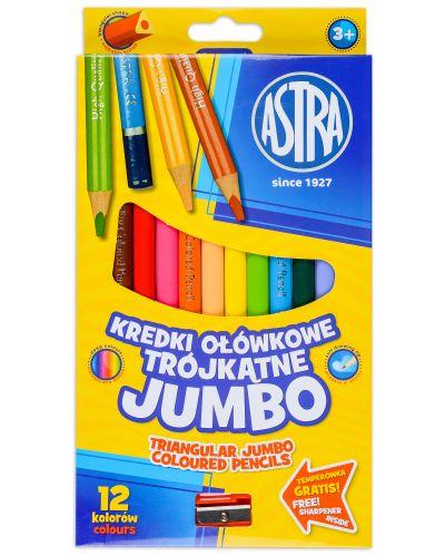 Триъгълни моливи Astra - Джъмбо, 12 цвята, с острилка - 1