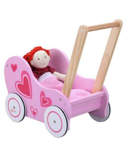 Дървена количка за кукли Classic World – Розова - 1