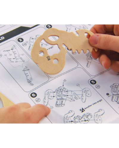 Дървен 3D пъзел Robo Time от 179 части - Булдозер с RC управление - 2
