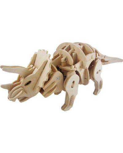 Дървен 3D пъзел Robo Time от 82 части – Трицератопс - 3