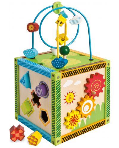 Дървен куб Eichhorn - Игрален център, с активности - 1