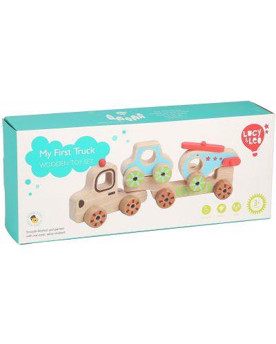 Дървен автовоз Lucy&Leo - С количка и хеликоптер - 4
