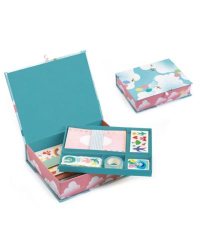 Творчески комплект Djeco - Charlotte, за картички, стикери и тетрадки - 3