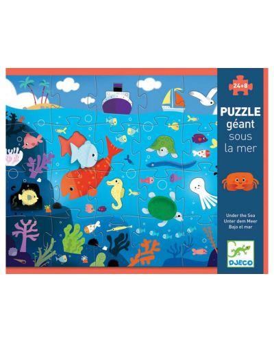 Пъзел гигант Djeco от 24 части - Под водата, с 8 животинки - 1