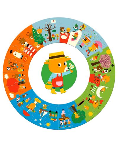 Кръгъл пъзел Djeco от 24 части - Годината, кръг - 2