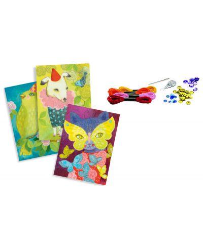 Детски комплект с 4 картини за бродиране Djeco - Карнавал - 2