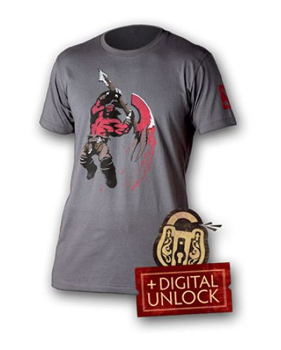 Тениска Dota 2 Axe + Digital Unlock, сива, размер S - 1