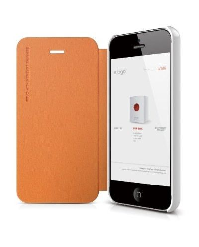 Elago S5 Leather Flip Case за iPhone 5 -  оранжев - 2
