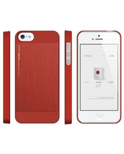 Elago S5 Outfit Matrix Aluminum + HD Clear Film за iPhone 5 -  червен - 2