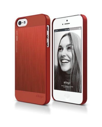 Elago S5 Outfit Matrix Aluminum + HD Clear Film за iPhone 5 -  червен - 1