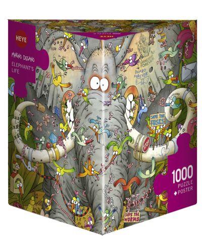 Пъзел Heye от 1000 части - Животът на слона, Марино Дегано - 1