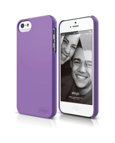 Elago S5 Slim Fit 2 Case + HD Clear Film за iPhone 5 -  лилав-мат - 1