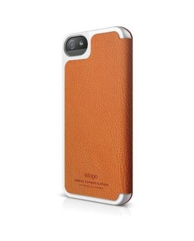 Elago S5 Leather Flip Case за iPhone 5 -  оранжев - 3