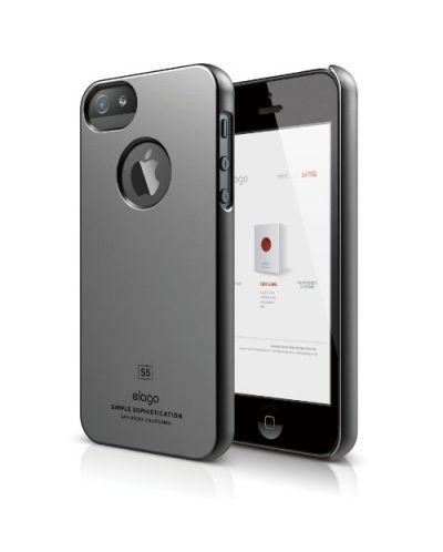 Elago S5 Slim Fit Case за iPhone 5 - тъмносив-гланц - 1