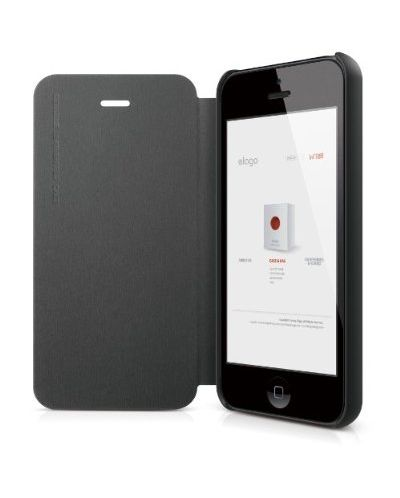 Elago S5 Leather Flip Case за iPhone 5 -  черен - 4