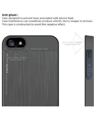 Elago S5 Outfit Matrix Aluminum + HD Clear Film за iPhone 5 -  тъмносив - 3