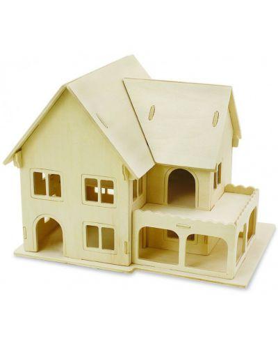 Дървен 3D пъзел Robo Time от 27 части - Къща 3 – Двуетажен дом - 1