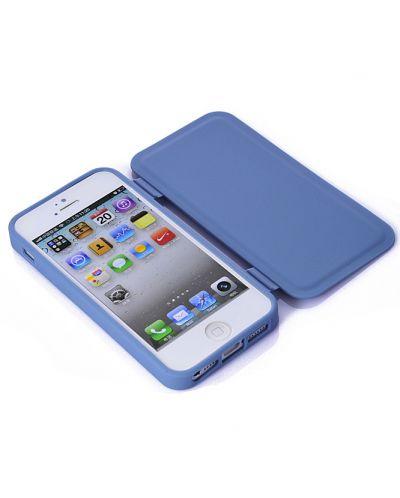 FitCase TPU Flip Case  силиконов кейс тип портфейл за iPhone 5 (син) - 4