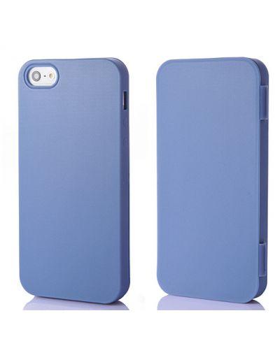 FitCase TPU Flip Case  силиконов кейс тип портфейл за iPhone 5 (син) - 1