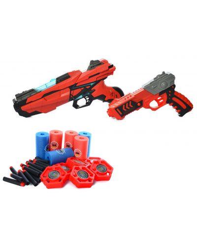 Комплект Ocie Red Guns - 2 пистолета с 40 меки стрели и 2 вида мишени - 2