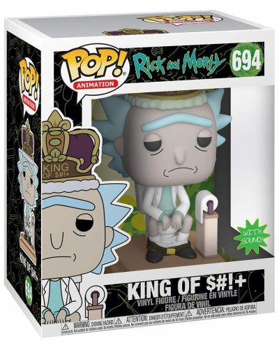 Фигура Funko Pop! Animation: Rick & Morty - King of $#!+ with Sound, #694 - 2