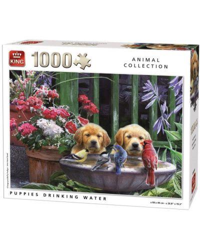 Пъзел King от 1000 части - Кученца пият вода, Кевин Даниел - 1
