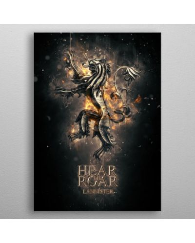 Метален постер Displate - Game of Thrones: Hear me roar Lannister - 3