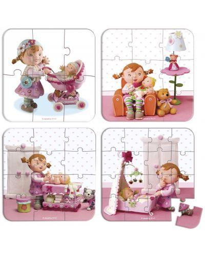 Комплект от 4 пъзела Janod - Лилу играе с кукли - 4