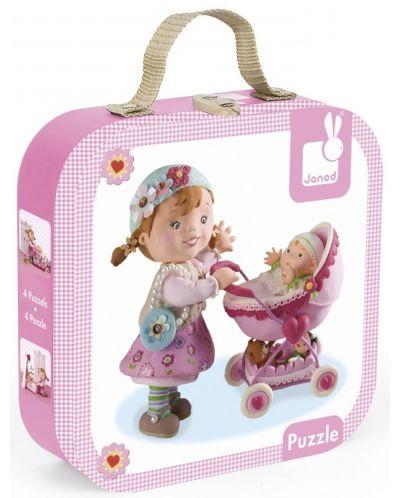 Комплект от 4 пъзела Janod - Лилу играе с кукли - 1