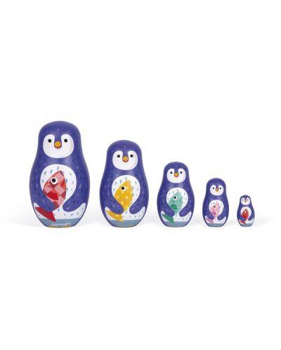 Дървена играчка Janod - Матрьошка, пингвин - 2