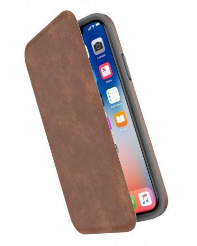 Калъф Speck Presidio Folio - за iPhone X, кожен, кафяв/сив - 1