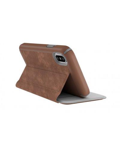 Калъф Speck Presidio Folio - за iPhone X, кожен, кафяв/сив - 6