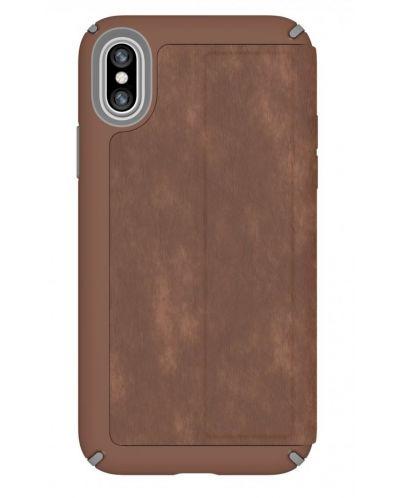 Калъф Speck Presidio Folio - за iPhone X, кожен, кафяв/сив - 4