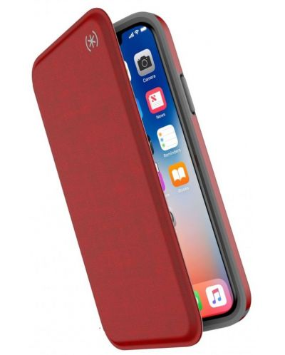 Калъф Speck iPhone X Presidio Folio - Heathered Heartrate Red/Heartrate Red/Graphite Grey - 2