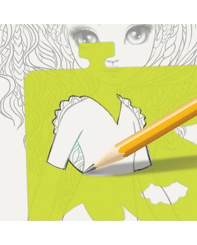 Книжка за рисуване Nebulous Stars - С шаблони и стикери, Моден дизайнер, Хазелия - 10
