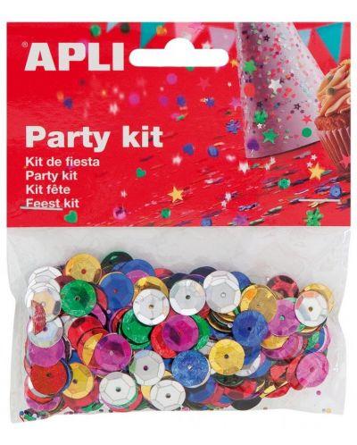 Комплект конфети Apli - Релефни пайети, разноцветни, 11 mm - 1