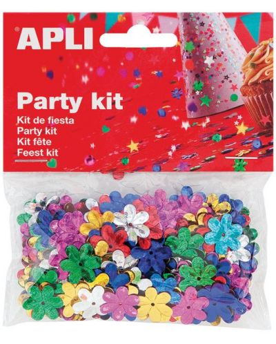 Комплект конфети Apli - Релефни цветя, разноцветни, 13 mm - 1