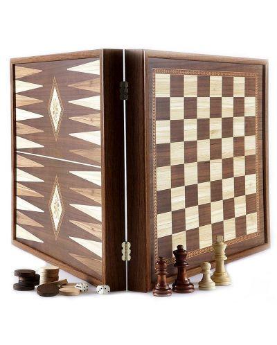 Комплект шах и табла Manopoulos - Цвят орех, 41 x 41 cm - 1