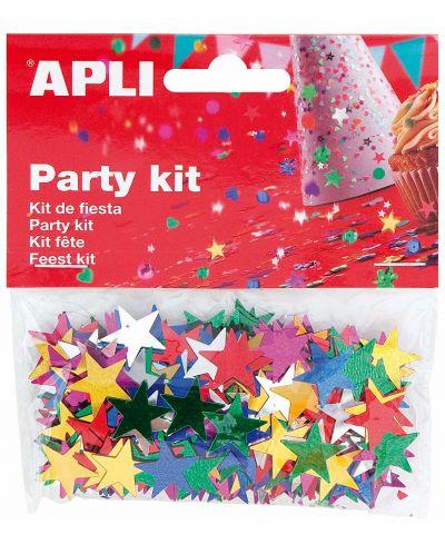 Комплект конфети Apli - Звезди, разноцветни, 15 mm - 1