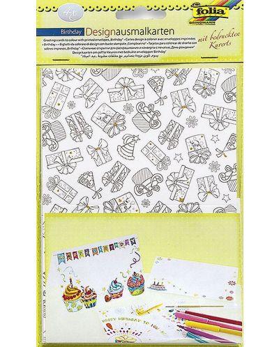 Творчески комплект картички и пликове Folia - Рожден ден - 1
