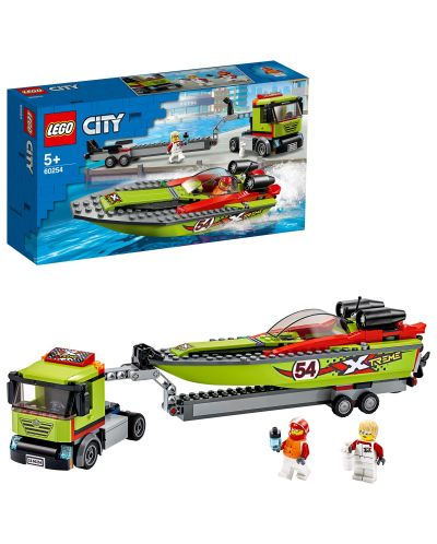 Конструктор Lego City Great Vehicles - Транспортьор на състезателни лодки (60254) - 3